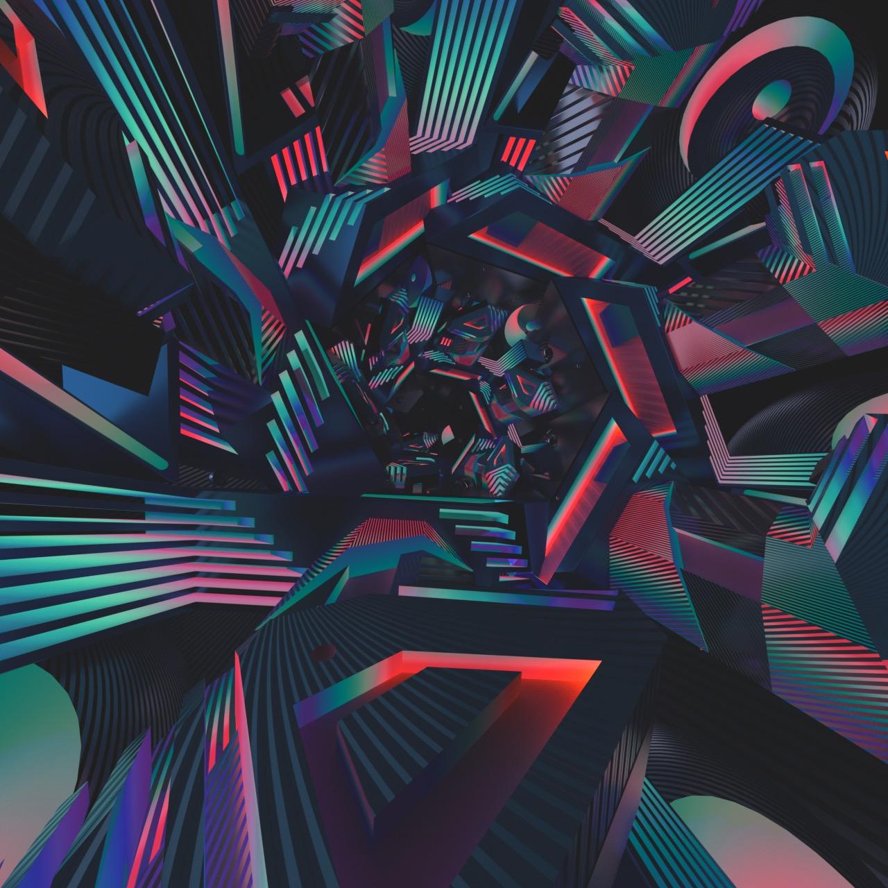 trippy acid visuals line art rainbow tunnel