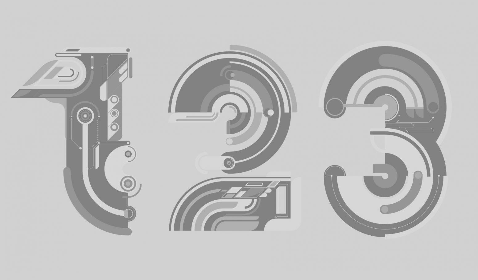 numbers typography rik oostebrook,