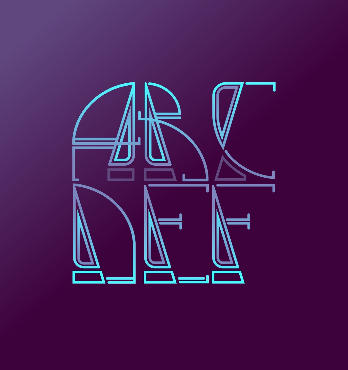 abcdef letter typography designs