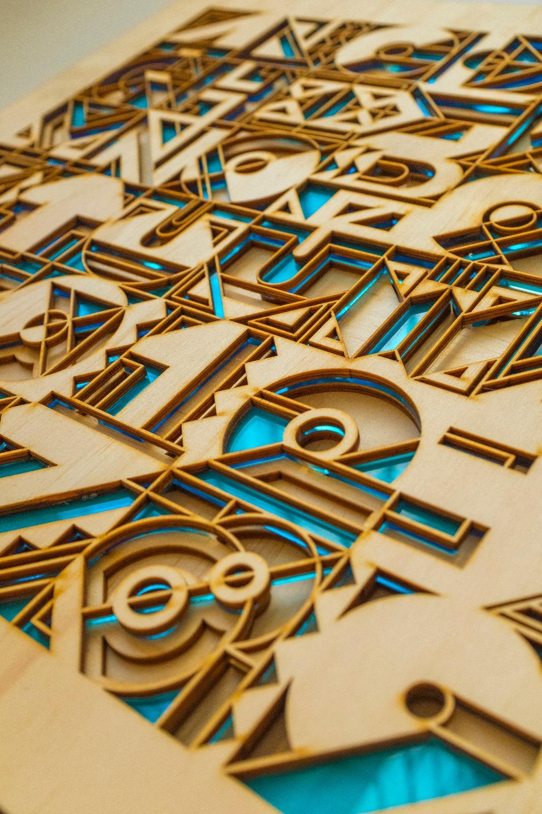 3d lazer cut artwork typography design art